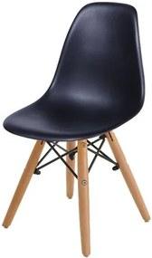 Cadeira INFANTIL Eames Polipropileno Preta com Base Madeira - 40603 Sun House