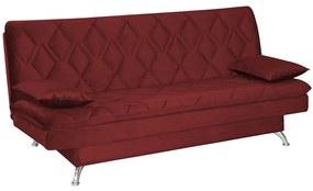 Sofá Cama Sala de Estar 193cm Belinda com Pés Alumínio Veludo Vermelho - Gran Belo