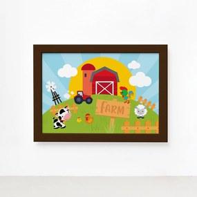 Quadro Animais da Fazenda Feliz Moldura Marrom 22x32cm