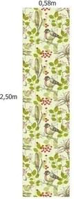 Papel De Parede Adesivo Pássaro Fundo Verde (0,58m x 2,50m)
