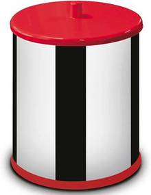 Lixeira Martinazzo Inox 6.3 Litros Tampa Vermelha