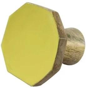 Cabide Madeira Octógono Amarelo