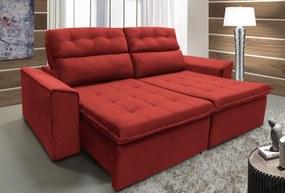 Sofá Royale 2,32m Retrátil, Reclinável, Tecido Suede Amassado Vermelho
