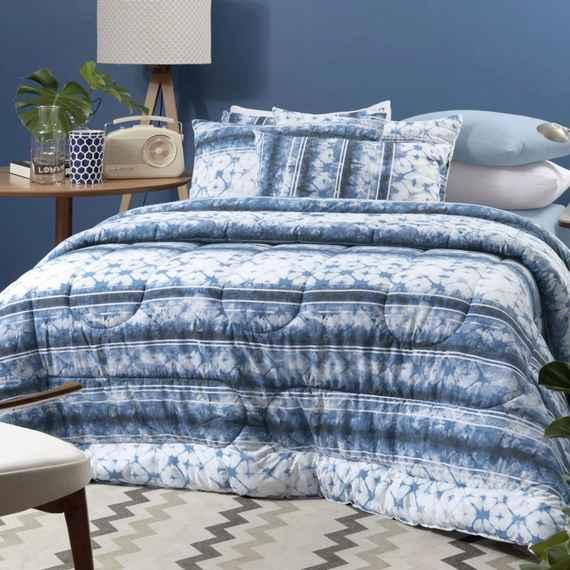 fd3a90d1b8 Edredom Solteiro Altenburg Malha In Cotton 100% Algodão - Blue Dream AZUL