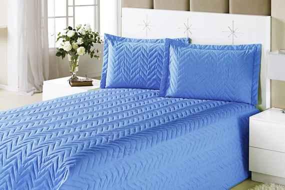 44c694bd6b Colcha Clean Casal Azul com 4 peças Algodão e Poliester - Aquarela