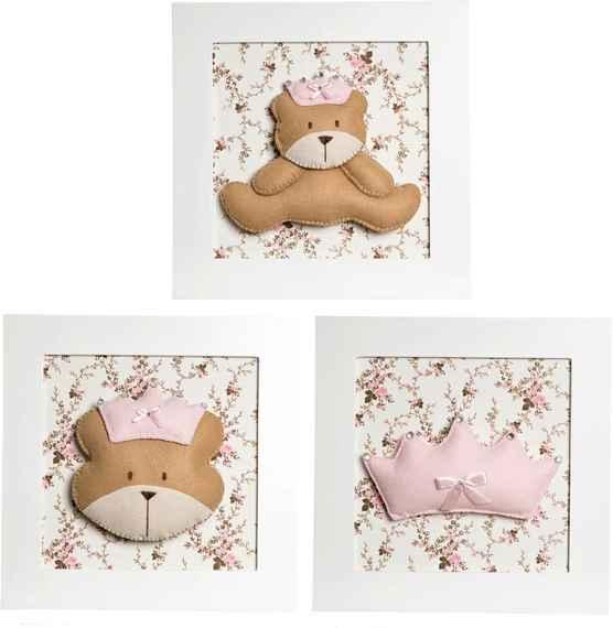 b5aca6044 Trio De Quadros Ursa Princesa Quarto Bebê Infantil Menina Potinho de Mel  Rosa